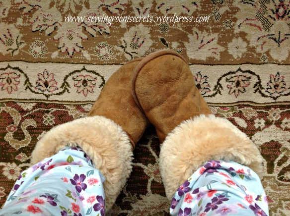 Furry slippers and jim-jams