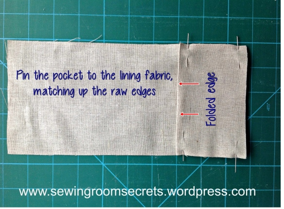 pin pocket to lining fabric